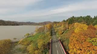 ドローンで撮影した沼田町の秋です。 ほたるの里からホロピリ湖まで、紅...