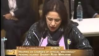 Patty Bonajad(?), Ethics Commission Sheriff Mirkarimi, August 16, 2012 [Item 2, PC-16, PL-1]