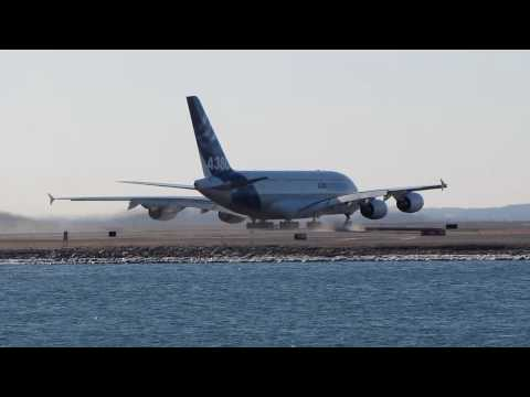 Airbus A380 - First (Ever) Takeoff From Boston Logan International Airport - February 9, 2010