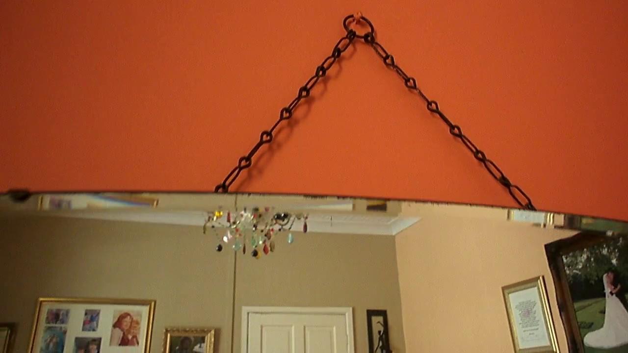 Vintage large art deco bevelled edge frameless hanging wall mirror