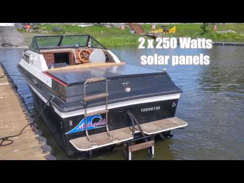 Boat gas cruiser conversion to solar electric with 2 Minnkota E