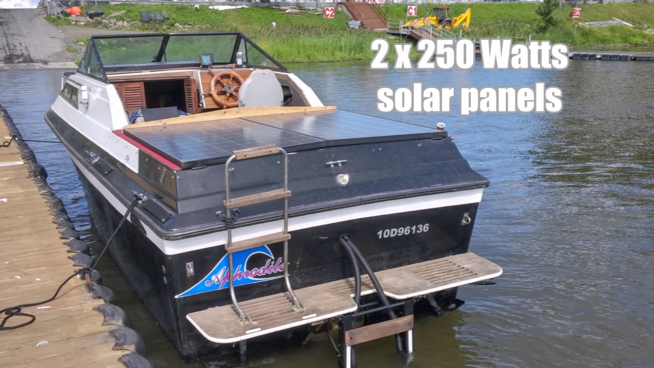 Marine solar panel installations first mate marine inc - Boat Gas Cruiser Conversion To Solar Electric With 2 Minnkota E Drive Motors 48v