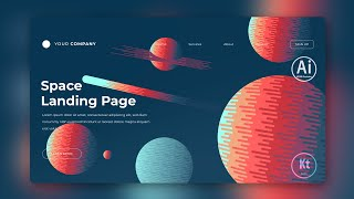 Space Landing Page - Abstract Background #6 - Adobe Illustrator Tutorial