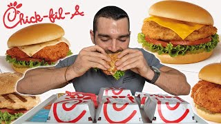 I ate every sandwich on the ChickFilA Menu | FAST FOOD Cheat Meal