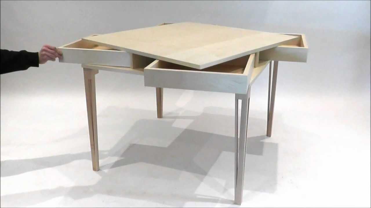 table a tiroirs secrets ms ebenisterie com youtube. Black Bedroom Furniture Sets. Home Design Ideas