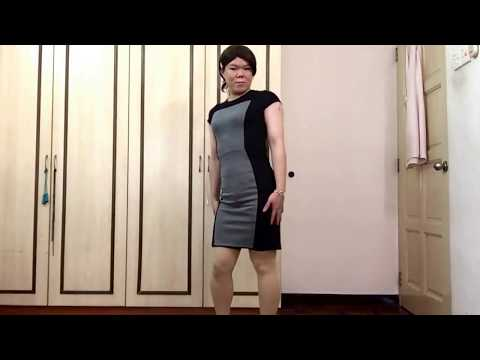 Tight office dress in nude tights