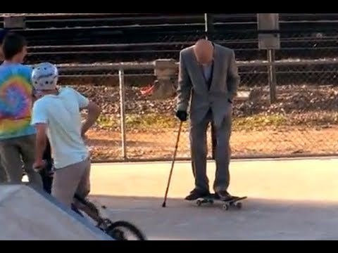 Grandpa Pranks People at Skate Park!