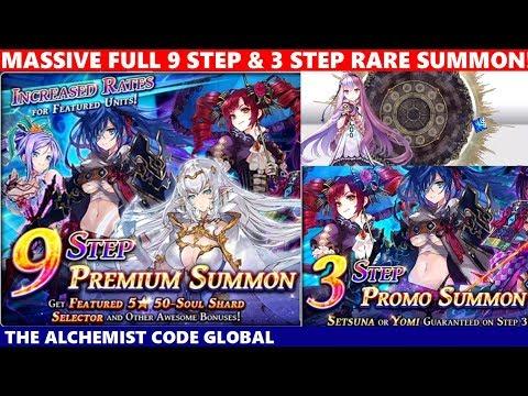 MASSIVE SUMMON! Full 9 Step & 3 Step Rare Summon For Setsuna (The Alchemist Code)