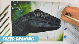 DRAWING A VELOCIRAPTOR||Jurassic World Fallen Kingdom||Art by Belle