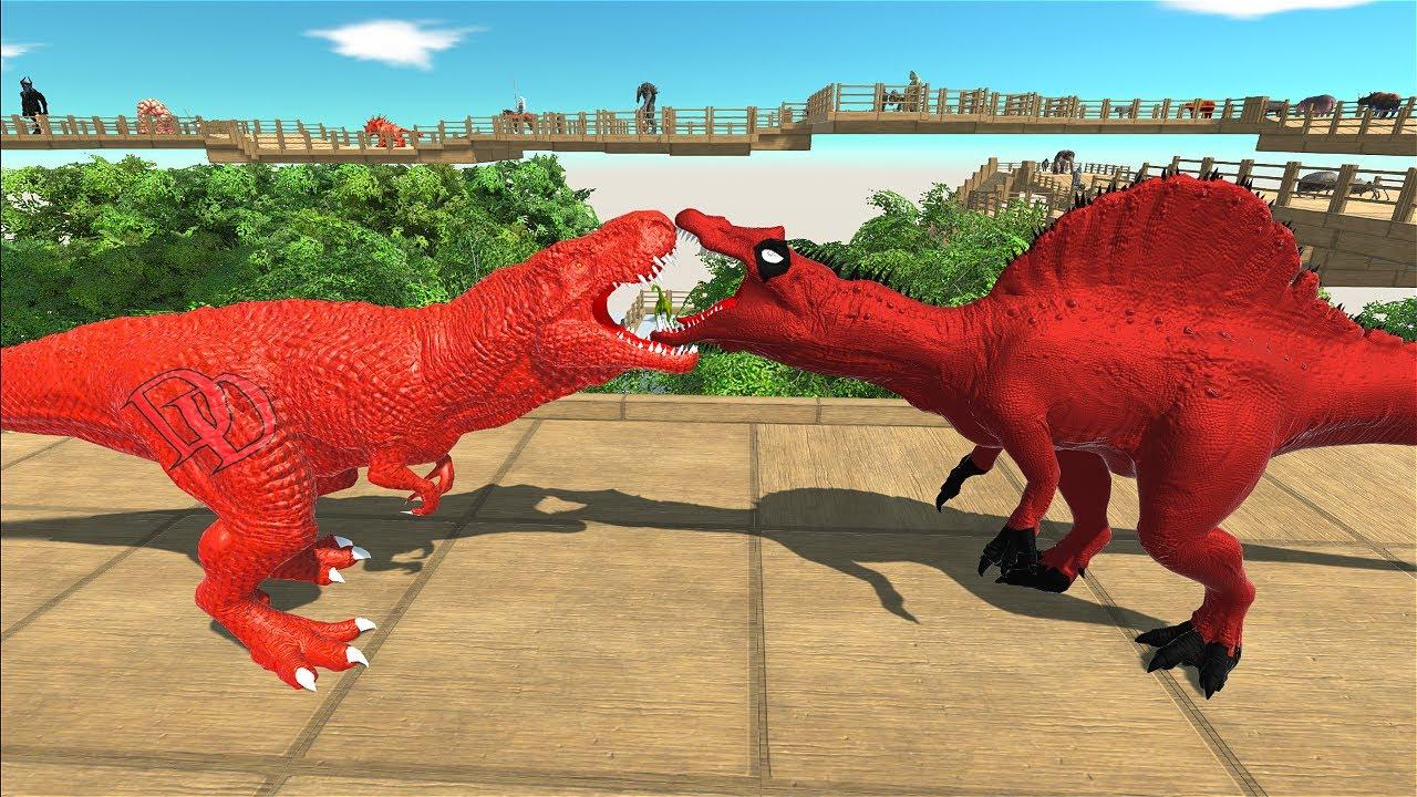 DEADPOOL SPINOSAURUS ISLAND DEATH RUN - Animal Revolt Battle Simulator