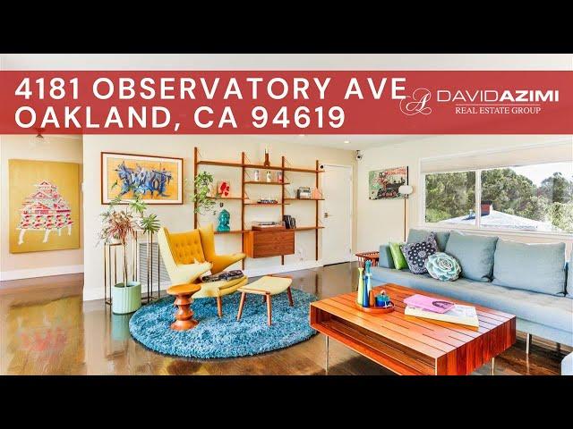 For Sale! 4181 Observatory Ave Oakland, CA 94619 | David Azimi
