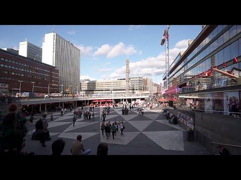 Sweden, Stockholm, walking from Slussen subway station to T-Centralen