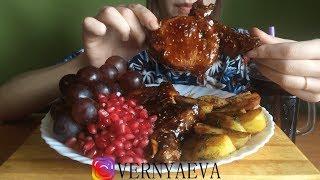 ASMR Pork ribs in teriyaki sauce with potatoes and berries | Свиные ребра в соусе NO Talking MUKBANG