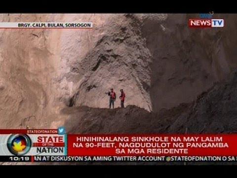 Hinihinalang sinkhole na may lalim na 90-feet, nagdudulot ng pangamba sa mga residente