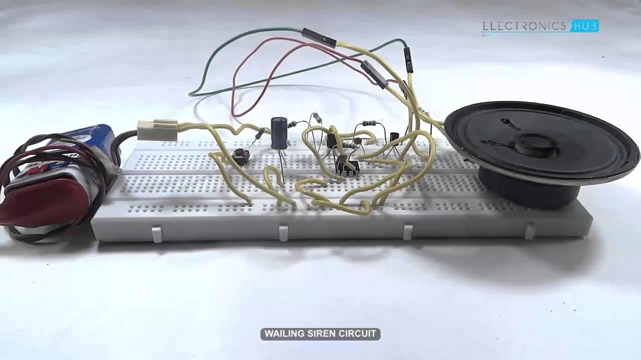 Wailing Siren Circuit Youtube Simple Car Alarm Diagram Using 555 Timer Electronic