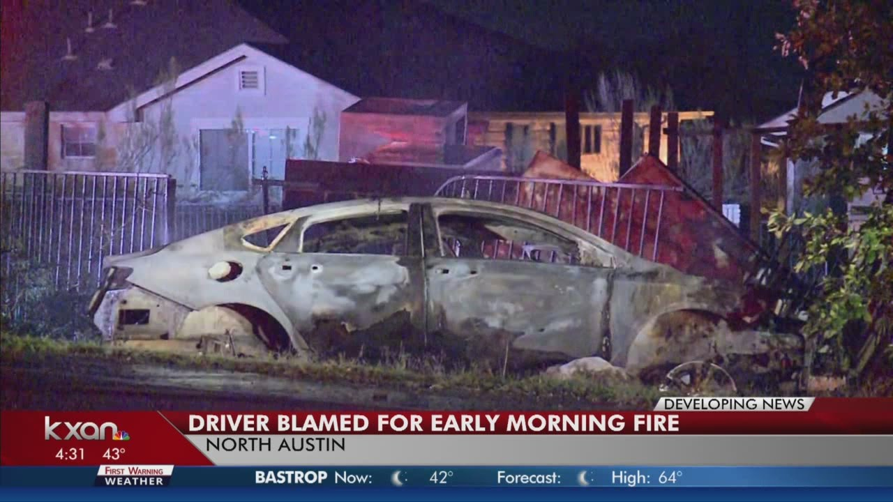 Car slams into business and then catches fire