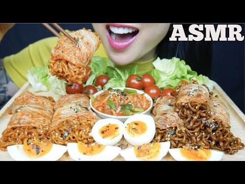 ASMR KIMCHI WRAP SPICY BLACKBEAN NOODLES + FIRE NOODLES *BIG BITES (EATING SOUNDS) | SAS-ASMR