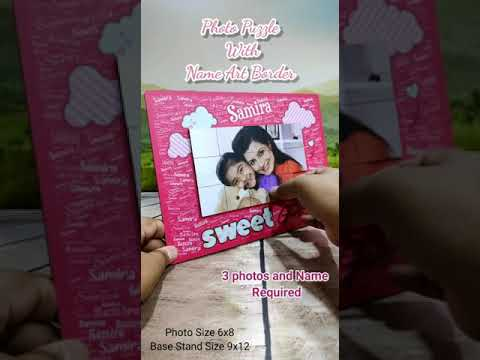 SWEET GIRL PUZZLE PHOTO WITH TEXT NAME & MAGNETIC PUZZLE PHOTO 12X8INCH   PERSONALIZED PHOTO GIFTS