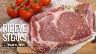 "Trimming Whole Rib eye - Cutting Rib eye Steaks"" How its Done Right!"""