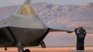 Must See: F-22 Raptor pre-flight, Engine Start-up, and Taxi Out(PLEASE READ THE DESCRIPTION!: Thunder Over Utah (Practice) Air Show St. George, Ut Friday March 16, 2012 Timeline: 3:41 - Engine Start-up 22:15 - Taxi ..., 2012-04-15T03:25:24.000Z)