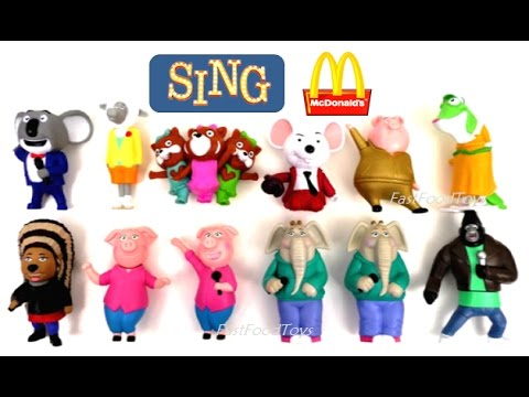 2016 FULL WORLD SET McDONALD'S SING MOVIE HAPPY MEAL TOYS 12 KIDS COLLECTION REVIEW EUROPE ASIA USA