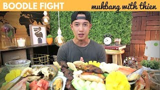 [mukbang with THIEN]: Filipino BOODLE FIGHT/KAMAYAN - Chicken Inasal, Fried Pompano, and BBQ Pork