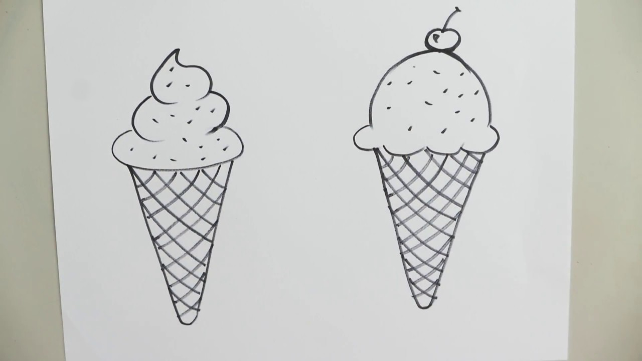 How To Draw An Ice Cream Cone Youtube