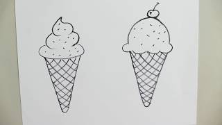 ice cream drawing easy step cone draw tutorial cherry