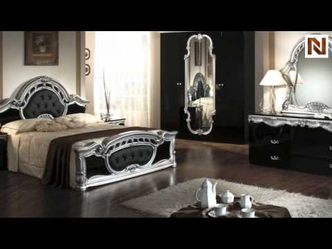 Rococo   Italian Classic Black Silver Bedroom Set VGACROCOCO BLK From VIG  Furniture