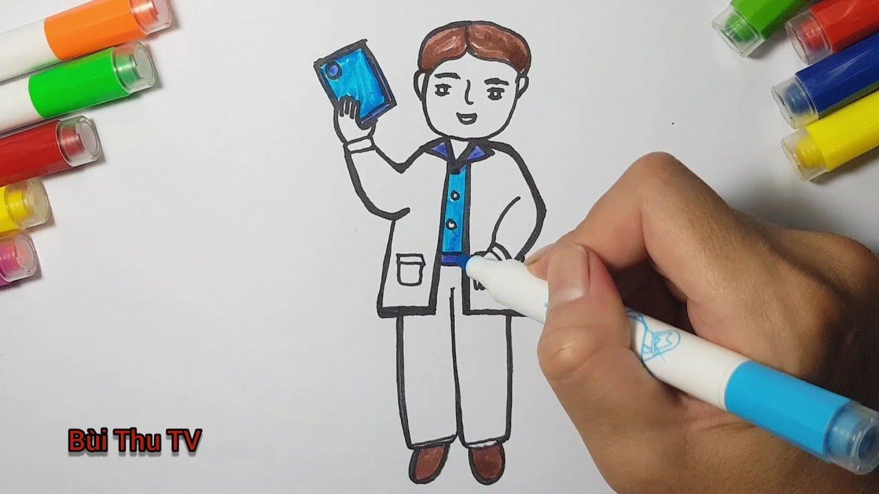 Bé tập vẽ / vẽ bác sĩ / ước mơ của em