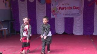 Neric Academy Grade II students Sushal and Krisha dancing in Newari song