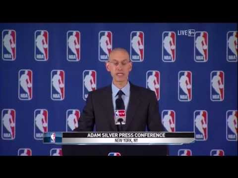 Actual Footage : Adam Silver Bans Donald Sterling For Life, Crowd goes CRAZY!