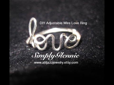 Tutorial DIY Adjustable Wire Love Ring