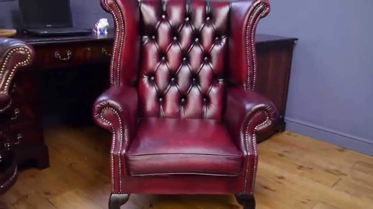 Oxblood Leather Wing Chair Little Kid Rocking Chesterfield Back Antique Style Red Armchair Youtube
