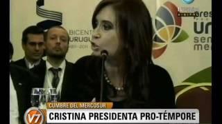 """Visión Siete: Cristina es la presidenta pro témpore del Mercosur: """"Malvinas es una causa global"""""""