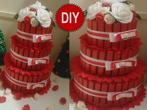 Смотреть онлайн Торт из конфет 2 подарок своими руками