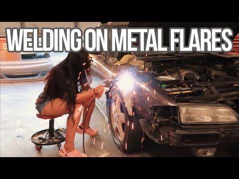 Kristine Welding On Her Metal Fender Flares 240sx