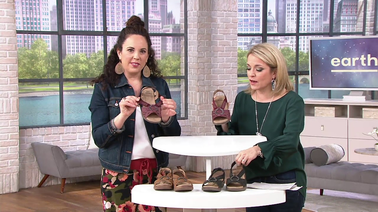14eb0bf31672 Earth Origins Leather Sandals with Metal Detailing - Stella Sabrina on QVC