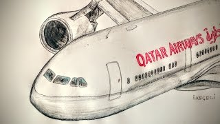 Boeing 767 Qatar Airways Timelapse Drawing/ Boeing 767 Çizim Videosu