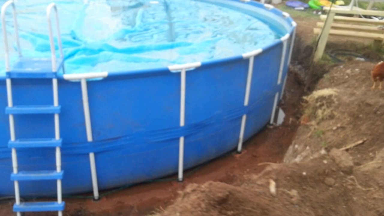 Install 24 ROUND INTEX METAL POLE FRAME SWIMMING POOL inground  YouTube