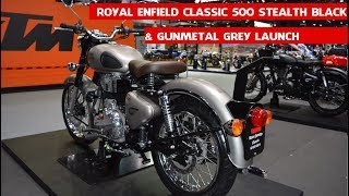 Royal Enfield Classic 500 Stealth Black &amp Gunmetal Grey launched at 2017 Thai Motor Exp ...