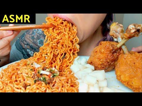 ASMR 4X MALA Fire Noodles 🔥+ HUGE Fried Chicken 🍗🍭먹방 Crunchy Sounds* No Talking suellASMR