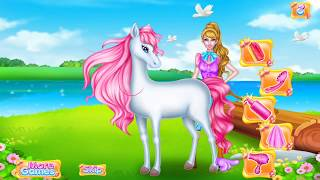 Amazing girl making up her horse for kids, How to train horse at home for children