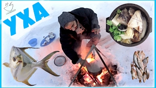 Уха на костре в шалаше ! Как приготовить уху зимой на костре МИНТАЙ .Готовить, варить, сварить легко