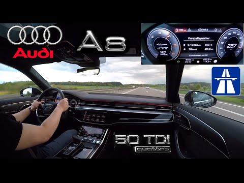 Schnelle Autobahnfahrt im neuen Audi A8