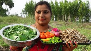 Gongura Leaves Nethala Dry Fish Curry Cooking In MY Village| Traditional Way Cook Endu Chepal Pulusu