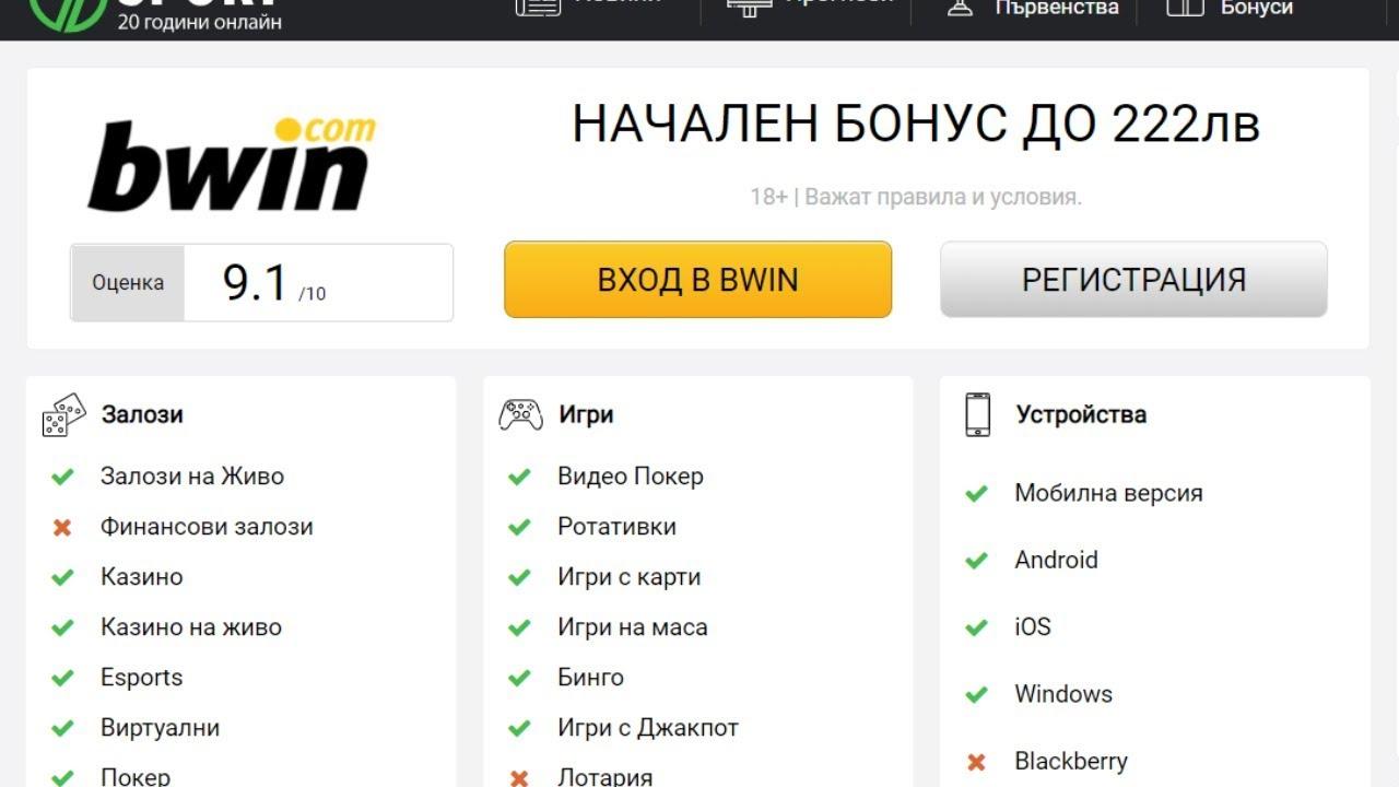 Bwin Залози на Спорт в България