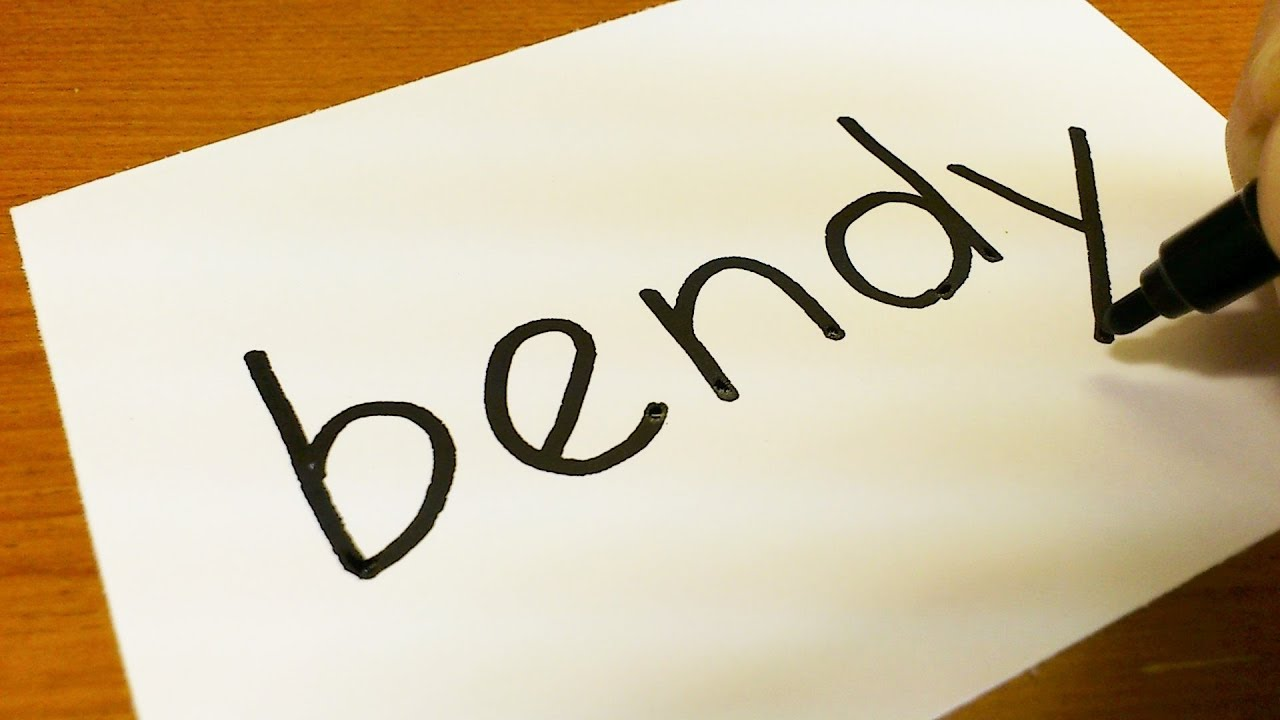 how to turn words bendy into a cartoon drawing doodle art on