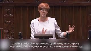 Minister Elżbieta Rafalska o projekcie podniesienia renty socjalnej