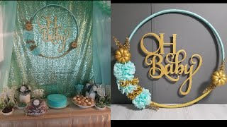 Aro decorado para fiesta / hula hoop wreath baby shower